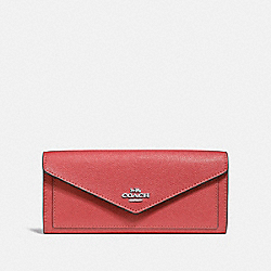 COACH F57715 - SOFT WALLET WASHED RED/DARK GUNMETAL