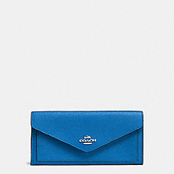 COACH F57715 - SOFT WALLET IN CROSSGRAIN LEATHER SILVER/LAPIS