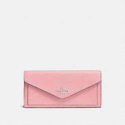 COACH F57715 Soft Wallet PEONY/SILVER