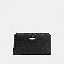 COACH F57726 Medium Zip Around Wallet BLACK/LIGHT GOLD