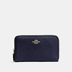 COACH F57726 Medium Zip Around Wallet NAVY/LIGHT GOLD