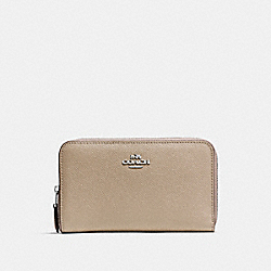 COACH F57726 Medium Zip Around Wallet SILVER/STONE