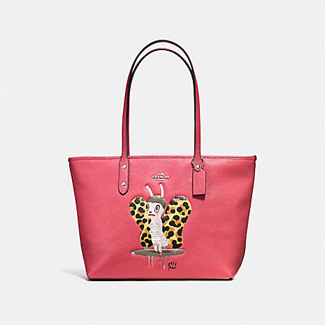 COACH f57728 BASEMAN X COACH BUTCH CITY ZIP TOTE IN PEBBLE LEATHER SILVER/STRAWBERRY