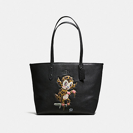 COACH f57730 BASEMAN X COACH BUSTER CITY ZIP TOTE IN PEBBLE LEATHER ANTIQUE NICKEL/BLACK