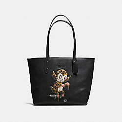 BASEMAN X COACH BUSTER CITY ZIP TOTE IN PEBBLE LEATHER - f57730 - ANTIQUE NICKEL/BLACK