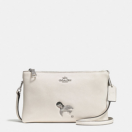 COACH f57734 BASEMAN X COACH KIKI LYLA CROSSBODY IN PEBBLED LEATHER SILVER/CHALK