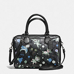 BASEMAN X COACH SECRET ORDER MINI BENNETT SATCHEL IN SIGNATURE COATED CANVAS - f57737 - CHARCOAL BLUE MULTI