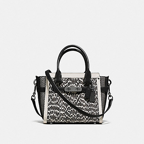 COACH f57748 COACH SWAGGER 21 IN SNAKE DARK GUNMETAL/CHALK