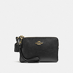 COACH F57768 Small Wristlet BLACK/LIGHT GOLD
