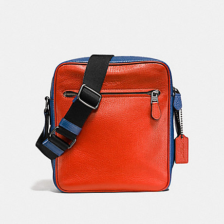 COACH F57771 METROPOLITAN FLIGHT BAG IN COLORBLOCK TERRACOTA/INDIGO/BLACK ANTIQUE NICKEL