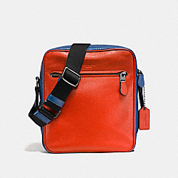 METROPOLITAN FLIGHT BAG IN COLORBLOCK - F57771 - TERRACOTA/INDIGO/BLACK ANTIQUE NICKEL