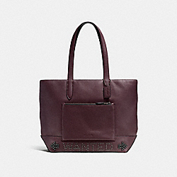 METROPOLITAN SOFT TOTE WITH WESTERN RIVETS - F57774 - OXBLOOD/DARK GUNMETAL
