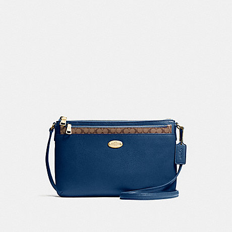 COACH F57788 EAST/WEST CROSSBODY WITH POP UP POUCH IN CROSSGRAIN LEATHER IMITATION-GOLD/MARINA