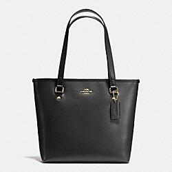 COACH F57789 - ZIP TOP TOTE IN CROSSGRAIN LEATHER AND COATED CANVAS IMITATION GOLD/BLACK