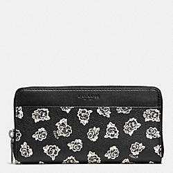 COACH F57804 Accordion Wallet In Floral Print Coated Canvas BLACK/WHITE FLORAL