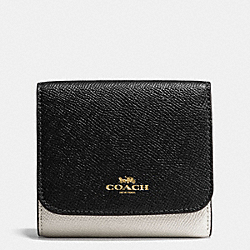 COACH F57825 Small Wallet In Geometric Colorblock Crossgrain Leather IMITATION GOLD/CHALK FOG MULTI