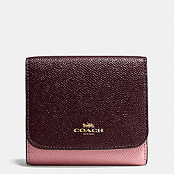 COACH F57825 Small Wallet In Geometric Colorblock Crossgrain Leather IMITATION GOLD/STRAWBERRY/OXBLOOD MULTI