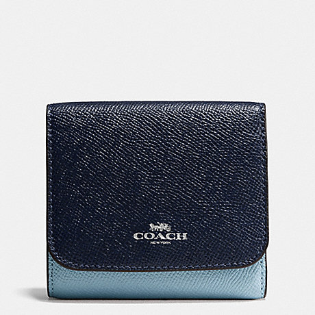 65454b9b089d4 COACH f57825 SMALL WALLET IN GEOMETRIC COLORBLOCK CROSSGRAIN LEATHER SILVER MIDNIGHT  BLUE MULTI