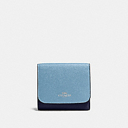 COACH F57825 Small Wallet In Geometric Colorblock Crossgrain Leather SILVER/CORNFLOWER