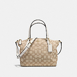MINI KELSEY SATCHEL IN OUTLINE SIGNATURE - f57830 - IMITATION GOLD/LIGHT KHAKI/CHALK