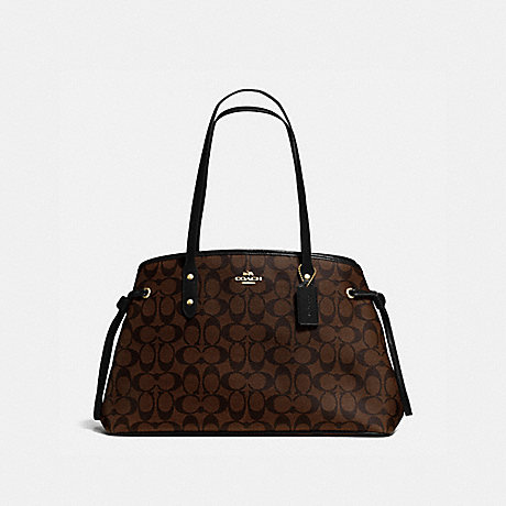 COACH F57842 DRAWSTRING CARRYALL IN SIGNATURE CANVAS BROWN/BLACK/LIGHT-GOLD