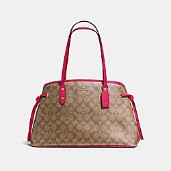 COACH F57842 - DRAWSTRING CARRYALL IN SIGNATURE IMITATION GOLD/KHAKI BRIGHT PINK
