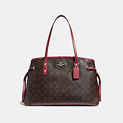 COACH F57842 Drawstring Carryall In Signature Canvas BROWN/PEONY/LIGHT GOLD