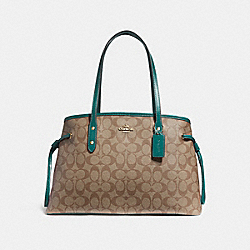 COACH F57842 Drawstring Carryall In Signature Canvas KHAKI/DARK TURQUOISE/LIGHT GOLD