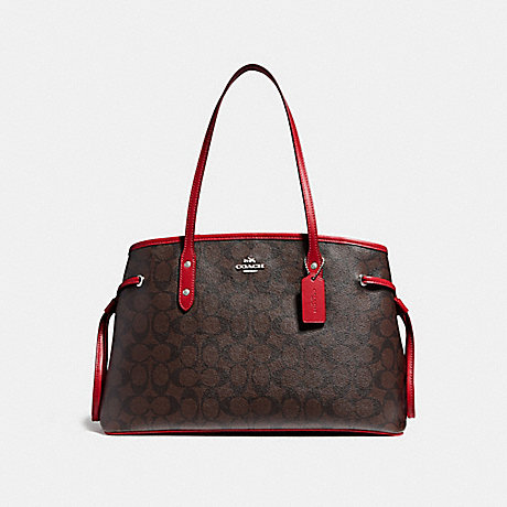 COACH F57842 DRAWSTRING CARRYALL IN SIGNATURE CANVAS BROWN/RUBY/IMITATION GOLD