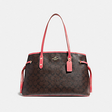 COACH F57842 DRAWSTRING CARRYALL IN SIGNATURE CANVAS BROWN/CORAL/IMITATION-GOLD