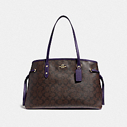 DRAWSTRING CARRYALL IN SIGNATURE CANVAS - F57842 - IM/BROWN DARK PURPLE
