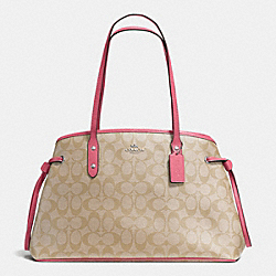 COACH F57842 - DRAWSTRING CARRYALL IN SIGNATURE SILVER/LIGHT KHAKI/STRAWBERRY