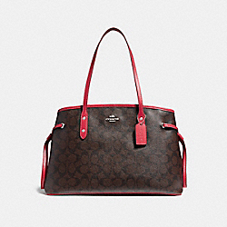 COACH F57842 Drawstring Carryall SILVER/BROWN TRUE RED