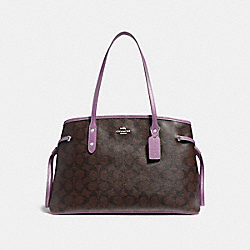 COACH F57842 - DRAWSTRING CARRYALL IN SIGNATURE CANVAS BROWN/AZALEA/SILVER