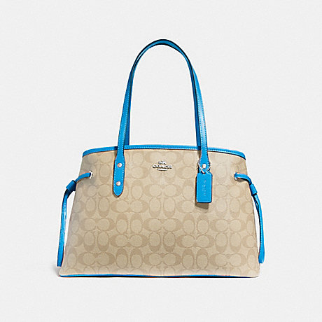 COACH F57842 DRAWSTRING CARRYALL IN SIGNATURE CANVAS LIGHT-KHAKI/BRIGHT-BLUE/SILVER
