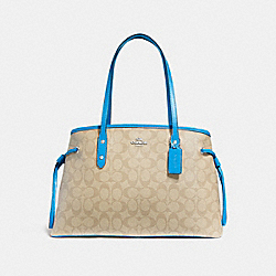 DRAWSTRING CARRYALL IN SIGNATURE CANVAS - f57842 - light khaki/bright blue/silver