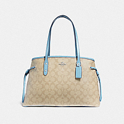 COACH F57842 Drawstring Carryall In Signature Canvas LIGHT KHAKI/POWDER BLUE/SILVER