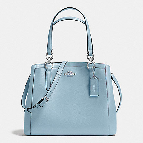 COACH f57847 MINETTA CROSSBODY IN CROSSGRAIN LEATHER SILVER/CORNFLOWER