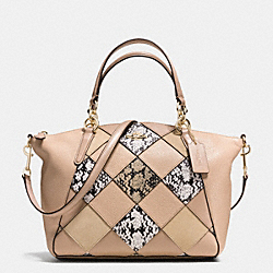 SMALL KELSEY SATCHEL IN SNAKE EMBOSSED PATCHWORK - f57849 - IMITATION GOLD/BEECHWOOD MULTI
