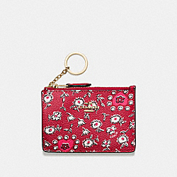COACH F57852 Mini Skinny Id Case In Wild Hearts Print Coated Canvas LIGHT GOLD/WILD HEARTS RED MULTI