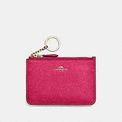 COACH F57854 Key Pouch With Gusset In Crossgrain Leather IMITATION GOLD/BRIGHT PINK