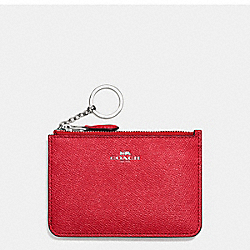 COACH F57854 Key Pouch With Gusset In Crossgrain Leather SILVER/BRIGHT RED