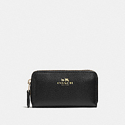 COACH F57855 Small Double Zip Coin Case In Crossgrain Leather IMITATION GOLD/BLACK