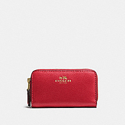 SMALL DOUBLE ZIP COIN CASE - f57855 - IMITATION GOLD/TRUE RED