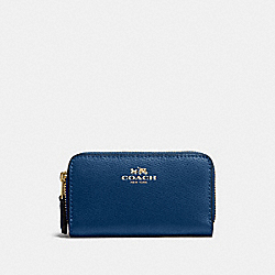 COACH F57855 Small Double Zip Coin Case In Crossgrain Leather IMITATION GOLD/MARINA