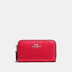 COACH F57855 Small Double Zip Coin Case In Crossgrain Leather SILVER/BRIGHT RED