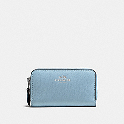COACH F57855 - SMALL DOUBLE ZIP COIN CASE IN CROSSGRAIN LEATHER SILVER/CORNFLOWER