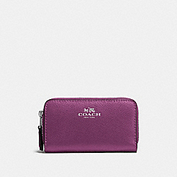 COACH F57855 - SMALL DOUBLE ZIP COIN CASE IN CROSSGRAIN LEATHER SILVER/MAUVE