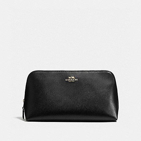 COACH f57856 COSMETIC CASE 22 IN CROSSGRAIN LEATHER IMITATION GOLD/BLACK