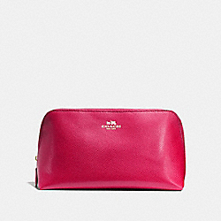 COACH F57856 Cosmetic Case 22 In Crossgrain Leather IMITATION GOLD/BRIGHT PINK